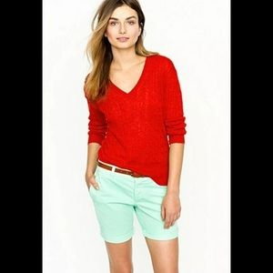 J. Crew 100% linen red cable knit v-neck sweater